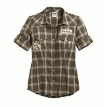 SHIRT-MULTI/PATCH,PLAID,BLACK