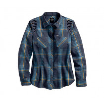 SHIRT-BL,L/S,LACED SHOULDER,WV