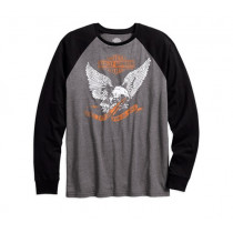TEE-B/L, L/S,COLOR BLOCK EAGLE