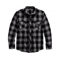 SHIRT-BRUSHED PLAID,BLK