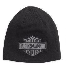 HAT-KNIT,REVERSE,TONAL,LOG,BLK