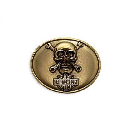 BUCKLE-BL,SKULL&WRENCHES,BLACK