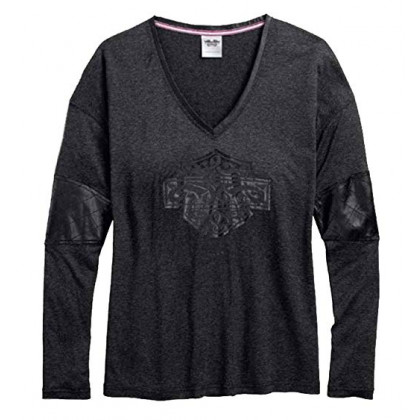 TEE-V/NECK,ACCENT,COATED,GREY