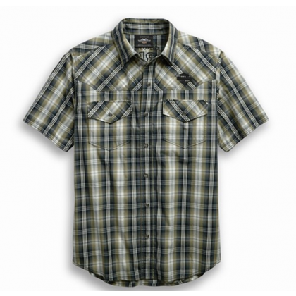 SHIRT-SNAP FRONT,S/S,WVN,PLD