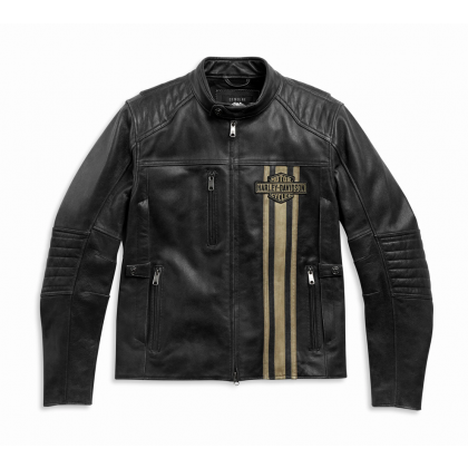 JACKET-TRIPLE VENT,LEATHER,BLA