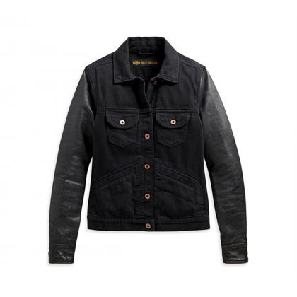 JACKET-DENIM/LEATHER,BLACK