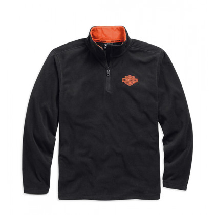 FLEECE-1/4 ZIP, LOGO,BLK