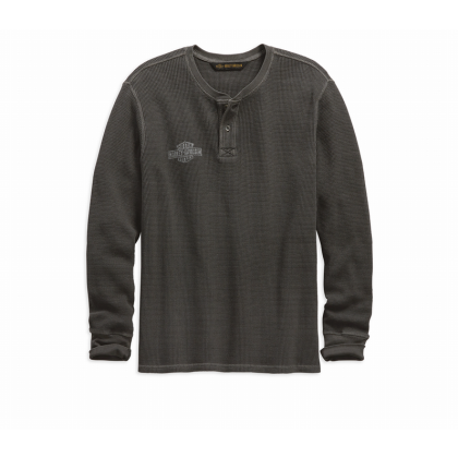 HENLEY-WASHED,L/S,KNT,GRY