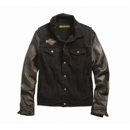 JACKET-LEATHER SLEEVE,DENIM,BL