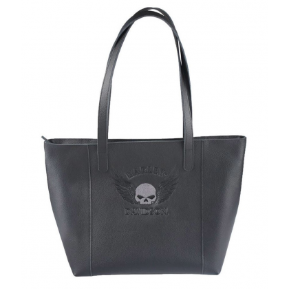 Tote Skull Embroider Wing Emboss