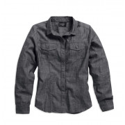 TOP-BL,L/S,WOVEN,CHAMBRAY,BLK