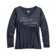 TEE-VNECK,HARLEY COUNTRY,NVY,B
