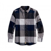 SHIRT-B/L, L/S PLAID,WVN,BLU